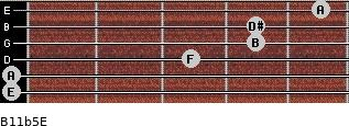 B11b5/E for guitar on frets 0, 0, 3, 4, 4, 5