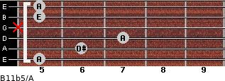 B11b5/A for guitar on frets 5, 6, 7, x, 5, 5