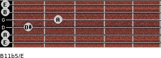 B11b5/E for guitar on frets 0, 0, 1, 2, 0, 0