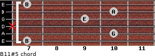 B11#5 for guitar on frets 7, 10, x, 9, 10, 7