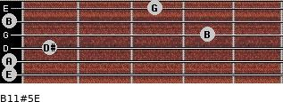 B11#5/E for guitar on frets 0, 0, 1, 4, 0, 3