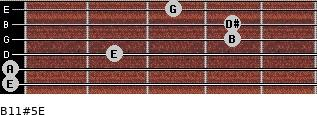 B11#5/E for guitar on frets 0, 0, 2, 4, 4, 3