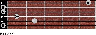 B11#5/E for guitar on frets 0, 2, 1, 0, 0, 5