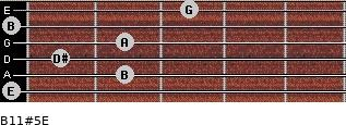 B11#5/E for guitar on frets 0, 2, 1, 2, 0, 3