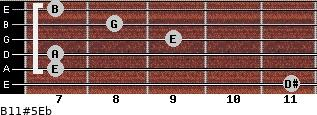 B11#5/Eb for guitar on frets 11, 7, 7, 9, 8, 7