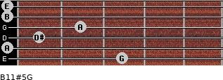 B11#5/G for guitar on frets 3, 0, 1, 2, 0, 0
