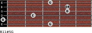 B11#5/G for guitar on frets 3, 0, 2, 4, 4, 3