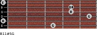 B11#5/G for guitar on frets 3, 0, 5, 4, 4, 0