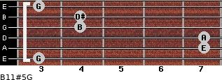 B11#5/G for guitar on frets 3, 7, 7, 4, 4, 3