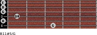 B11#5/G for guitar on frets 3, 0, 1, 0, 0, 0