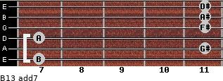 B13 add(7) for guitar on frets 7, 11, 7, 11, 11, 11