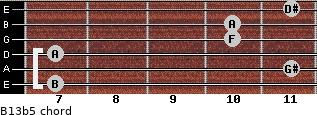B13b5 for guitar on frets 7, 11, 7, 10, 10, 11