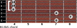 B13b5 for guitar on frets 7, 8, 7, 4, 4, 4