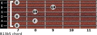 B13b5 for guitar on frets 7, 8, 7, 8, 9, 7