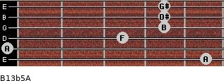 B13b5/A for guitar on frets 5, 0, 3, 4, 4, 4