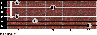 B13b5/D# for guitar on frets 11, 8, 7, x, 9, 7