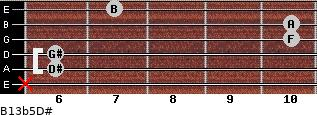 B13b5/D# for guitar on frets x, 6, 6, 10, 10, 7