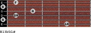 B13b5/G# for guitar on frets 4, 0, 1, 2, 0, 1