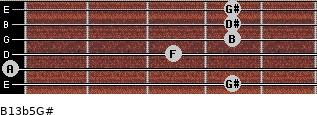 B13b5/G# for guitar on frets 4, 0, 3, 4, 4, 4