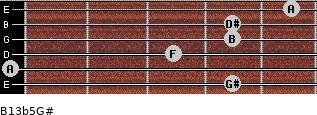 B13b5/G# for guitar on frets 4, 0, 3, 4, 4, 5