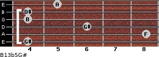 B13b5/G# for guitar on frets 4, 8, 6, 4, 4, 5