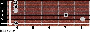 B13b5/G# for guitar on frets 4, 8, 7, 4, 4, 4