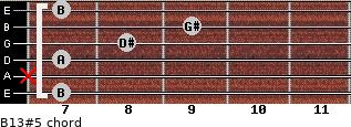B13#5 for guitar on frets 7, x, 7, 8, 9, 7