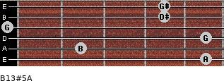B13#5/A for guitar on frets 5, 2, 5, 0, 4, 4
