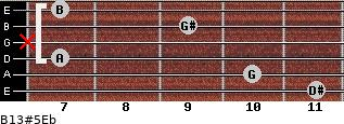 B13#5/Eb for guitar on frets 11, 10, 7, x, 9, 7