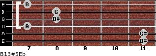 B13#5/Eb for guitar on frets 11, 11, 7, 8, 8, 7
