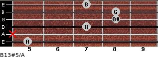 B13#5/A for guitar on frets 5, x, 7, 8, 8, 7