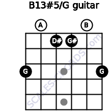 B13#5/G for guitar on frets 3, 0, 1, 1, 0, 3