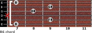 B6 for guitar on frets 7, 9, x, 8, 9, 7