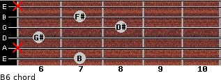 B6 for guitar on frets 7, x, 6, 8, 7, x