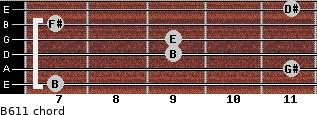 B6/11 for guitar on frets 7, 11, 9, 9, 7, 11