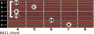 B6/11 for guitar on frets 7, 6, 4, 4, 5, 4