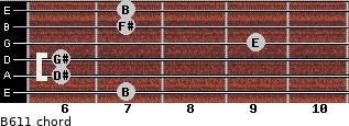 B6/11 for guitar on frets 7, 6, 6, 9, 7, 7