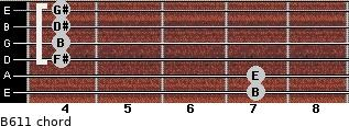 B6/11 for guitar on frets 7, 7, 4, 4, 4, 4