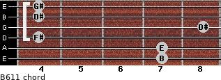 B6/11 for guitar on frets 7, 7, 4, 8, 4, 4