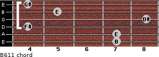 B6/11 for guitar on frets 7, 7, 4, 8, 5, 4