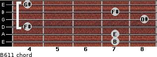 B6/11 for guitar on frets 7, 7, 4, 8, 7, 4