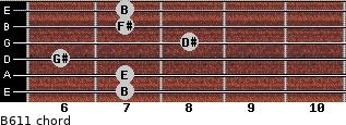 B6/11 for guitar on frets 7, 7, 6, 8, 7, 7