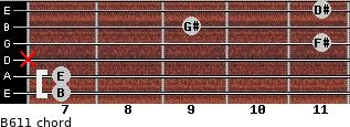 B6/11 for guitar on frets 7, 7, x, 11, 9, 11
