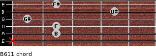 B6/11 for guitar on frets x, 2, 2, 1, 4, 2