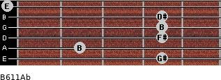 B6/11/Ab for guitar on frets 4, 2, 4, 4, 4, 0