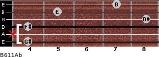 B6/11/Ab for guitar on frets 4, x, 4, 8, 5, 7