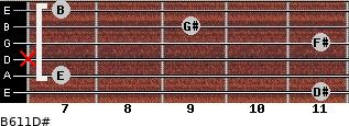 B6/11/D# for guitar on frets 11, 7, x, 11, 9, 7