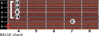 B6/11/E for guitar on frets x, 7, 4, 4, 4, 4