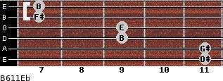 B6/11/Eb for guitar on frets 11, 11, 9, 9, 7, 7