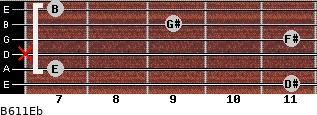 B6/11/Eb for guitar on frets 11, 7, x, 11, 9, 7